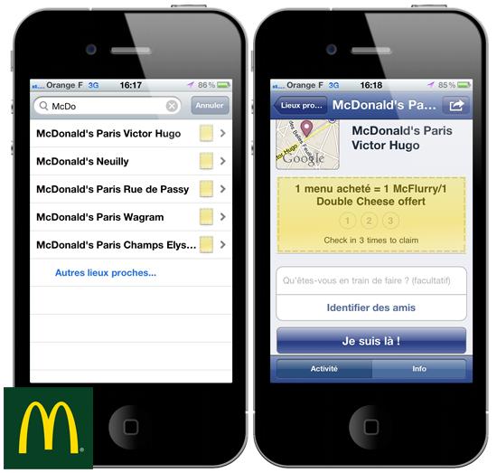 Facebook Places avec McDonald's
