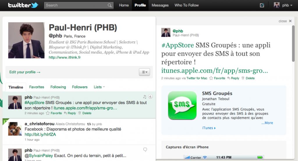 Capture d'écran Twitter.com : Un tweet