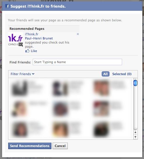 Suggérer une page à vos contacts