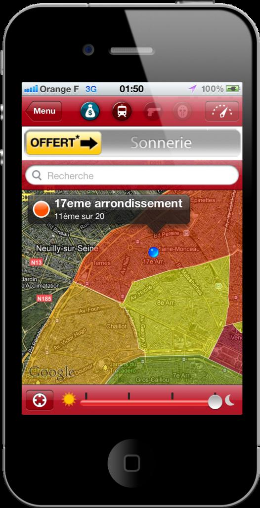 Visualisation de la carte avec les zones, BeSafe!