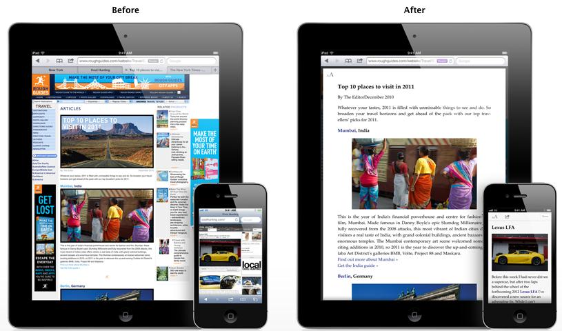 Safari Mobile Reader : avant — après