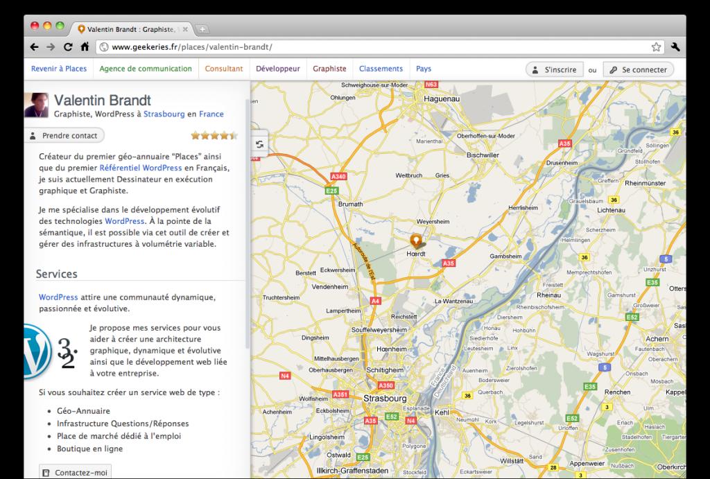 Places, fiche contact