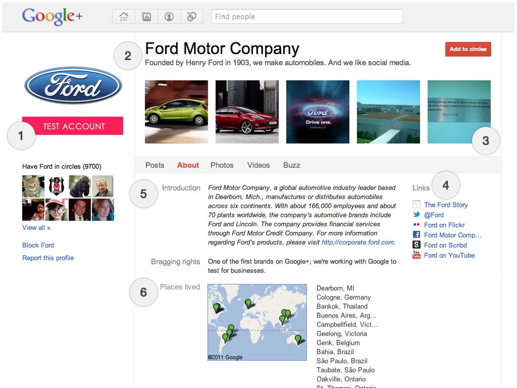 Vue d'un profil Google+ pour entreprises