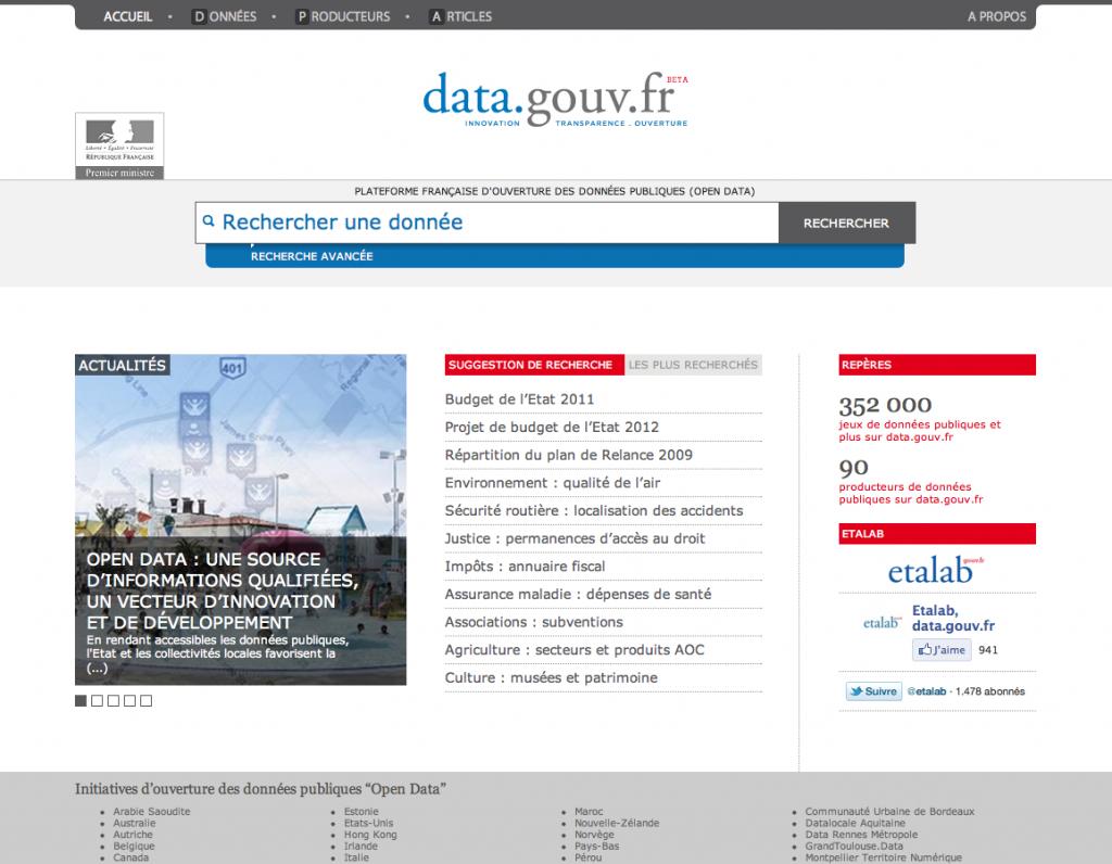 Aperçu de la plateforme data.gouv.fr