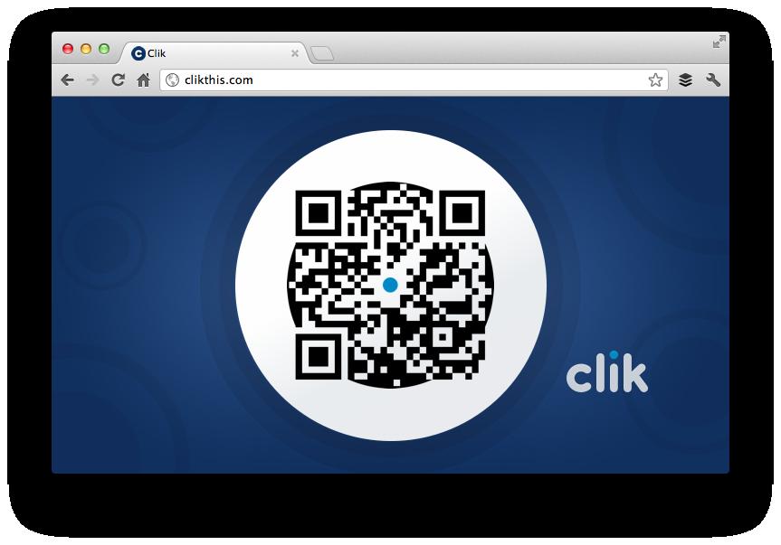 Clik : le QR code affiché dans le navigateur