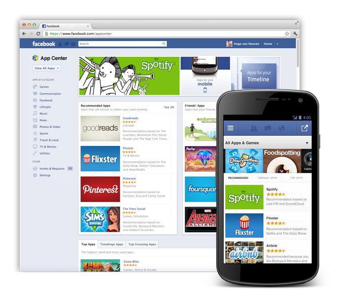 Facebook App Center : les apps seront disponibles sur le web et mobile