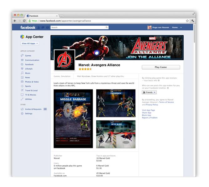 Facebook App Center : détail d'une page application dédiée